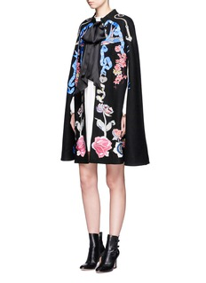 Temperley London 'Sail' anchor bird embroidered wool cape