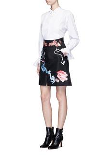 Temperley London'Sailor' anchor bird embroidered cotton-silk skirt