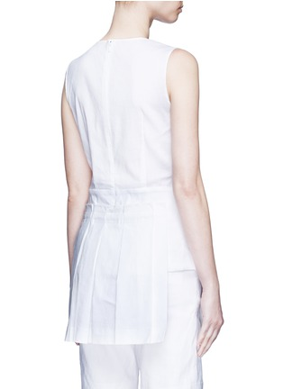 Back View - Click To Enlarge - Dkny - Asymmetric pleat overlay sleeveless linen dress