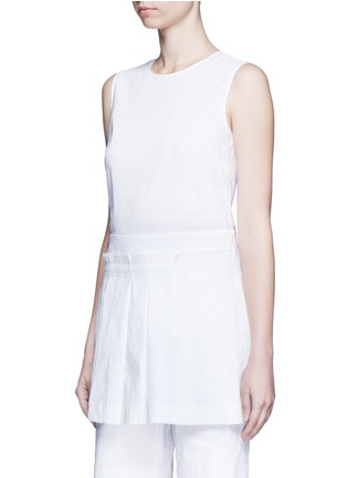 Front View - Click To Enlarge - Dkny - Asymmetric pleat overlay sleeveless linen dress