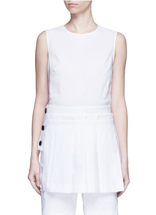 Main View - Click To Enlarge - Dkny - Asymmetric pleat overlay sleeveless linen dress