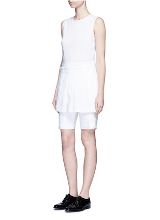 Figure View - Click To Enlarge - Dkny - Asymmetric pleat overlay sleeveless linen dress