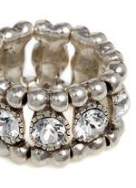'Solange' engraved Swarovski crystal elastic ring