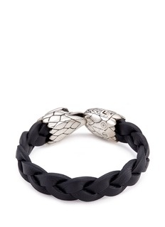 John Hardy Chalcedony silver eagle braided leather bracelet