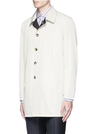 Front View - Click To Enlarge - ISAIA - Reversible Aqua Cotton coat