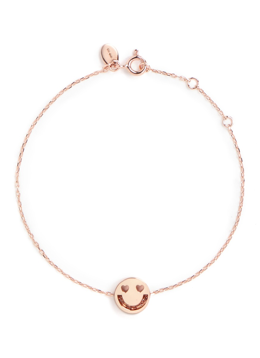 Smitten 18k rose gold chain charm bracelet by Ruifier