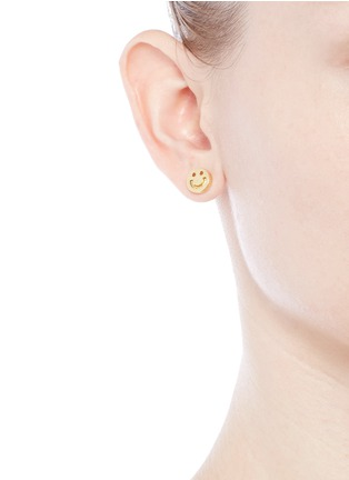 Figure View - Click To Enlarge - Ruifier - 'Happy' 18k yellow gold chain stud earrings