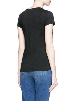Back View - Click To Enlarge - alice + olivia - 'Robin' floral embroidery linen T-shirt