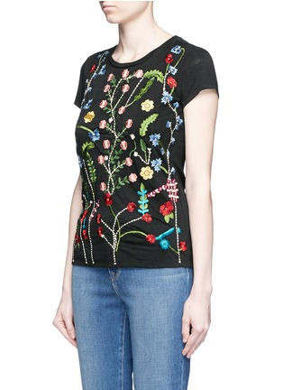 Front View - Click To Enlarge - alice + olivia - 'Robin' floral embroidery linen T-shirt
