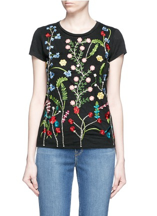 Main View - Click To Enlarge - alice + olivia - 'Robin' floral embroidery linen T-shirt