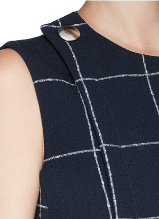 Detail View - Click To Enlarge - Balenciaga - Textured check asymmetric dress