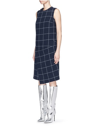 Front View - Click To Enlarge - Balenciaga - Textured check asymmetric dress