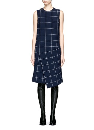 Main View - Click To Enlarge - Balenciaga - Textured check asymmetric dress