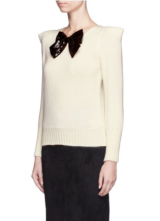 Front View - Click To Enlarge - Saint Laurent - Sequin bow appliqué peaked shoulder sweater