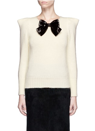 Main View - Click To Enlarge - Saint Laurent - Sequin bow appliqué peaked shoulder sweater