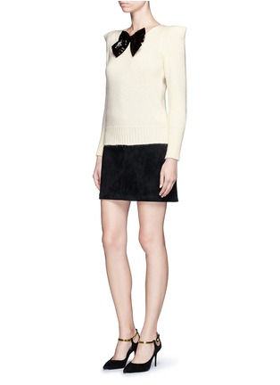 Figure View - Click To Enlarge - Saint Laurent - Sequin bow appliqué peaked shoulder sweater