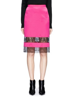 GIVENCHY Floral lace insert silk satin pencil skirt