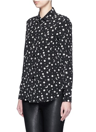 Front View - Click To Enlarge - SAINT LAURENT - Moon and star print silk shirt