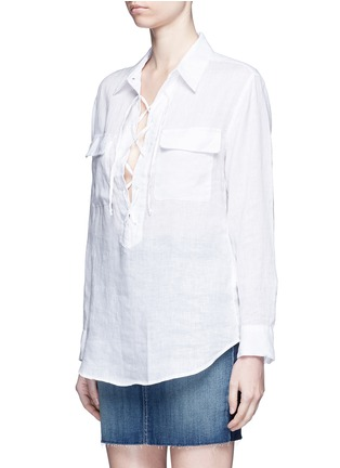 Front View - Click To Enlarge - Equipment - 'Knox' lace-up front linen shirt