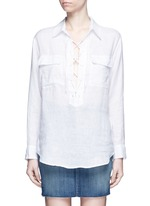'Knox' lace-up front linen shirt
