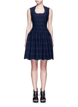 Main View - Click To Enlarge - Alaïa - 'Guirlande' wavy dot jacquard knit dress