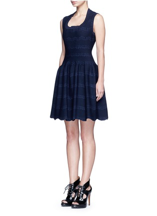 Figure View - Click To Enlarge - Alaïa - 'Guirlande' wavy dot jacquard knit dress