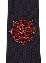 Crystal military badge silk tie