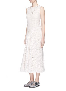 STELLA MCCARTNEY'Janelle' zip trim floral lace midi dress