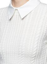 'Gila' poplin collar cable knit sweater