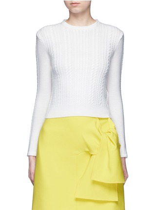 Detail View - Click To Enlarge - alice + olivia - 'Gila' poplin collar cable knit sweater