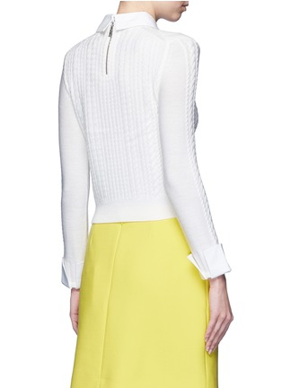 Back View - Click To Enlarge - alice + olivia - 'Gila' poplin collar cable knit sweater