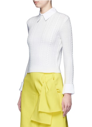 Front View - Click To Enlarge - alice + olivia - 'Gila' poplin collar cable knit sweater