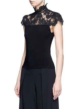 Front View - Click To Enlarge - alice + olivia - 'Dandi' floral lace crepe top