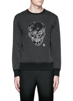 Skull stitch embroidery cotton sweatshirt