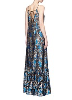 Metallic floral jacquard silk split front dress