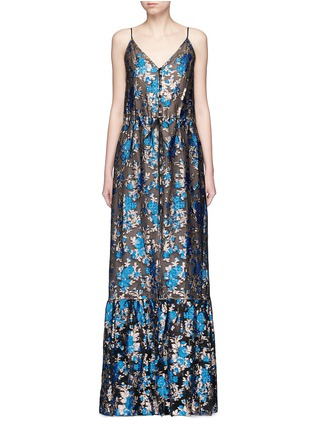 Main View - Click To Enlarge - Lanvin - Metallic floral jacquard silk split front dress