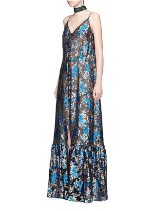 Figure View - Click To Enlarge - Lanvin - Metallic floral jacquard silk split front dress