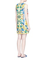 Maiolica print floral brocade A-line dress