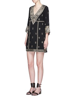ALICE + OLIVIA 'Ray' bead embroidery V-neck dress