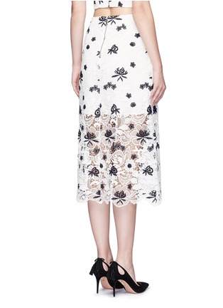 Back View - Click To Enlarge - alice + olivia - 'Ophelia' floral guipure lace midi skirt