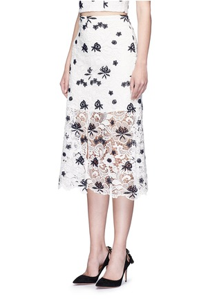 Front View - Click To Enlarge - alice + olivia - 'Ophelia' floral guipure lace midi skirt
