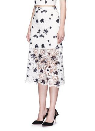 alice + olivia-'Ophelia' floral guipure lace midi skirt