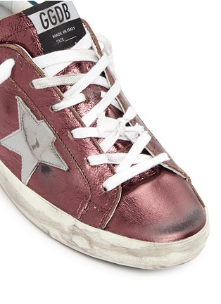 Detail View - Click To Enlarge - Golden Goose - 'Superstar' smudged metallic leather sneakers