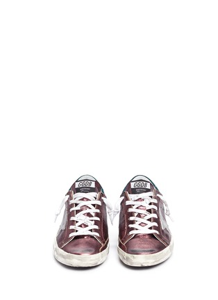 Front View - Click To Enlarge - Golden Goose - 'Superstar' smudged metallic leather sneakers