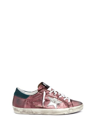Main View - Click To Enlarge - Golden Goose - 'Superstar' smudged metallic leather sneakers