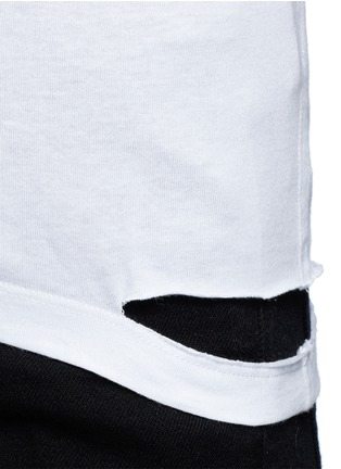 Detail View - Click To Enlarge - Helmut Lang - Cutoff hem pocket jersey T-shirt