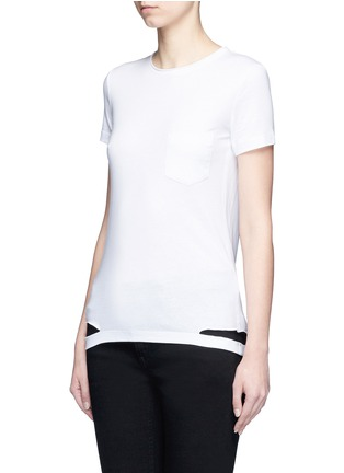 Front View - Click To Enlarge - Helmut Lang - Cutoff hem pocket jersey T-shirt