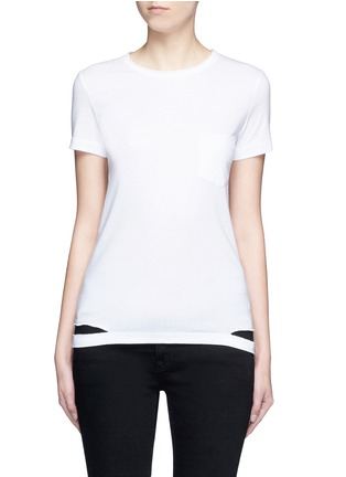Main View - Click To Enlarge - Helmut Lang - Cutoff hem pocket jersey T-shirt