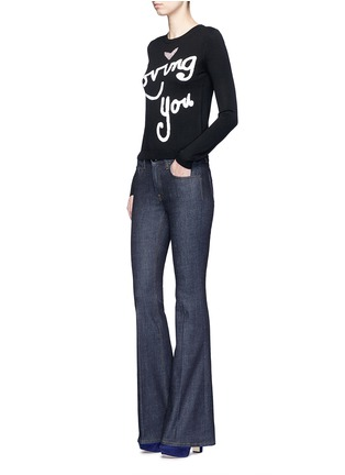 Figure View - Click To Enlarge - alice + olivia - 'Zach' embellished slogan wool sweater