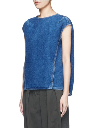 Front View - Click To Enlarge - Balenciaga - Stonewashed cotton denim top